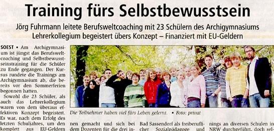 30 Berufswelt-Coachings an diversen Schulformen in NRW 2006-2007