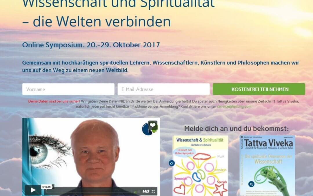 """Tattva-Viveka Online Symposium """"Wissenschaft & Spiritualität – die Welten verbinden"""" Jörg Fuhrmann u.a. im Dialog mit Dr. Gerald Hüther"""