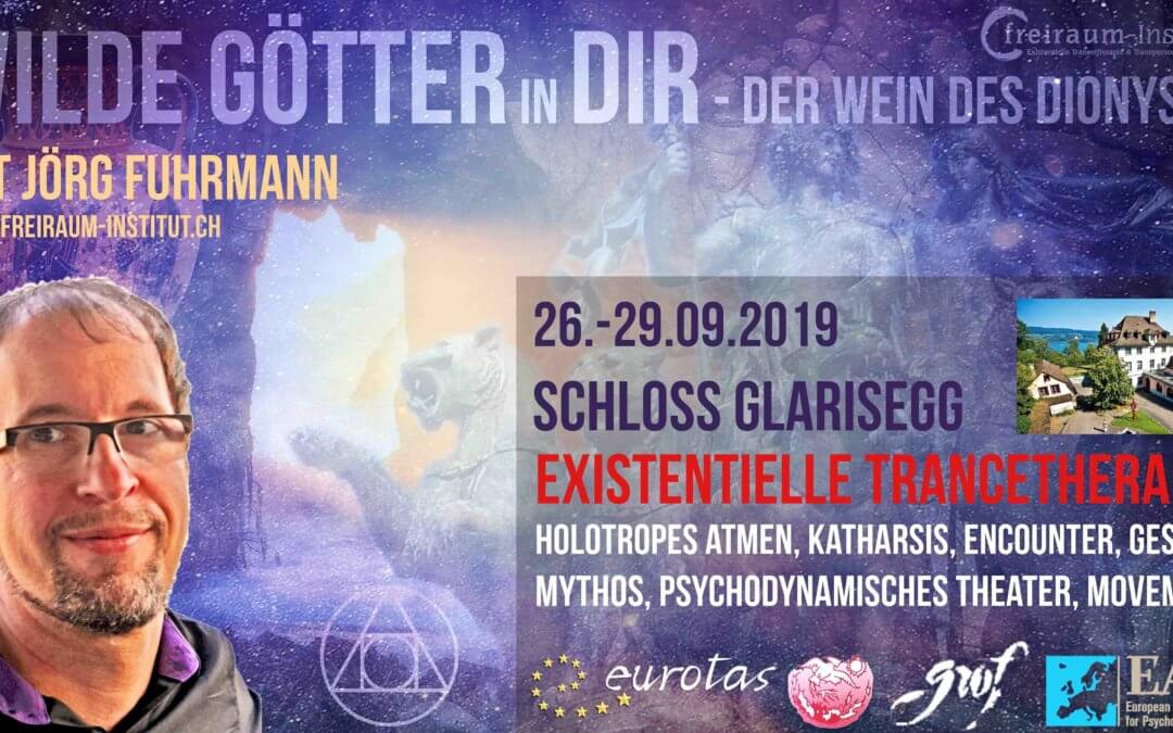 "Wilde Götter in Dir – ""Wein des Dionysos"": 4x holotropes Atmen, Gestalt, Mythos, Encounter, Theater im Schloss Glarisegg 350.-€"